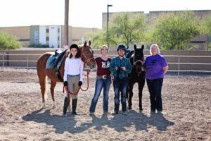 Adaptive Riding Students & Volunteer- Photo Credit Horses Help & 85086 Magazine