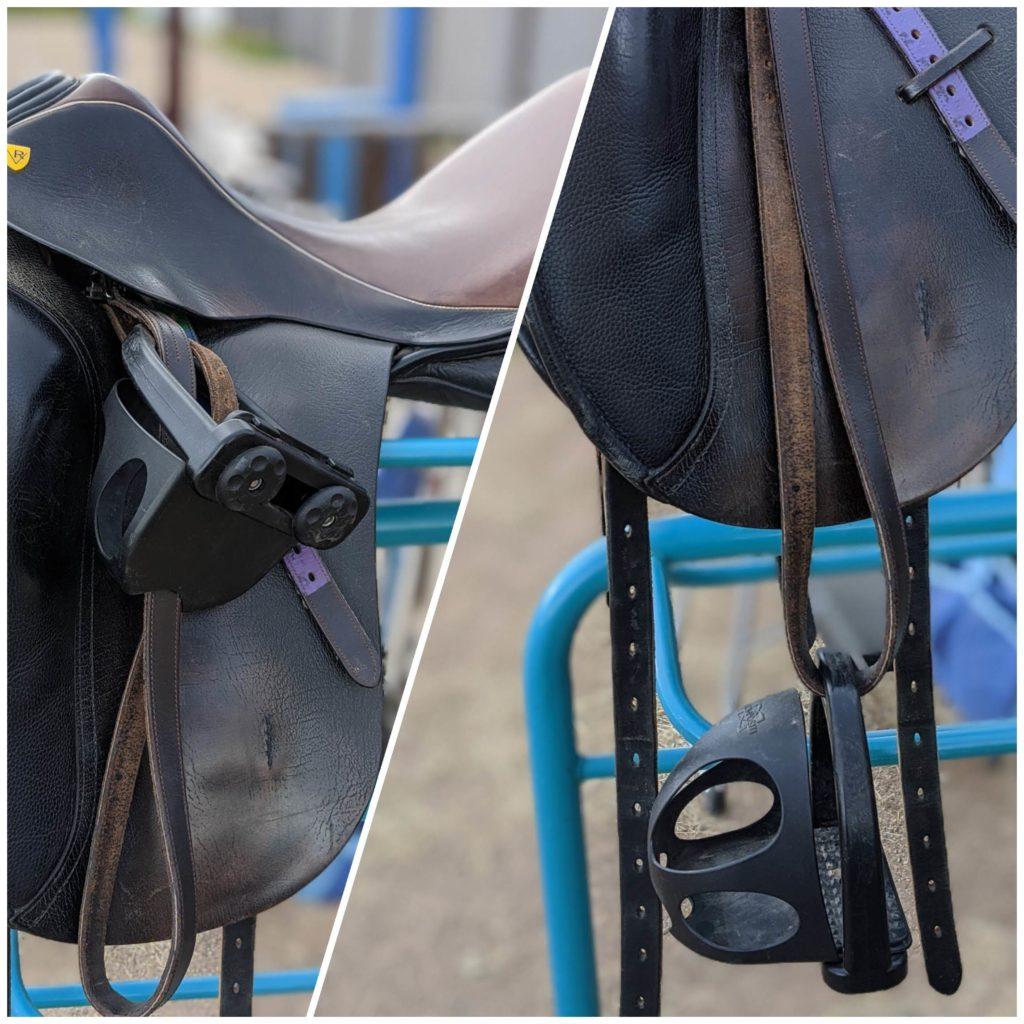 Cage stirrups on black dressage saddle
