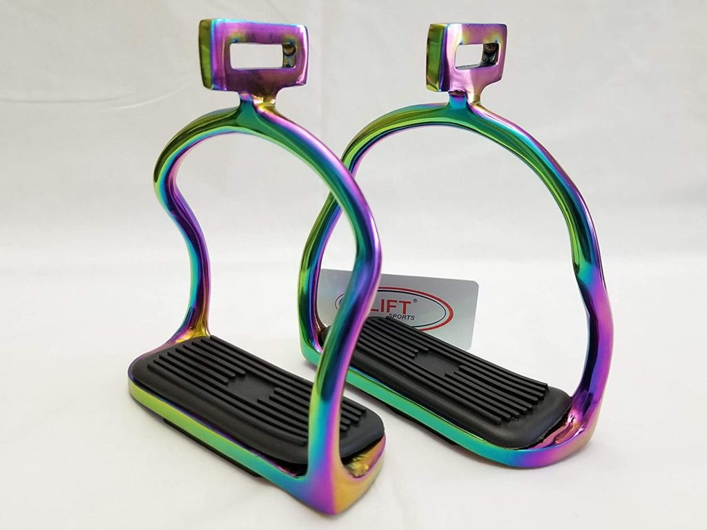 Lift Sports Rainbow Multi Color 4.75 Inch Horse Safety Saddle Stirrups Double Bend Stainless Steel Equine Tack Shows Iron