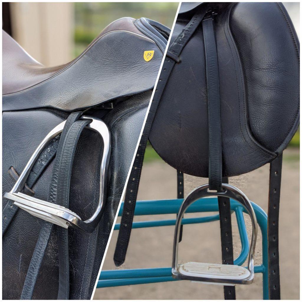 s stirrups on a black dressage saddle